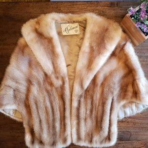 Couture Designer Mink Fur Stole Cape Capelet